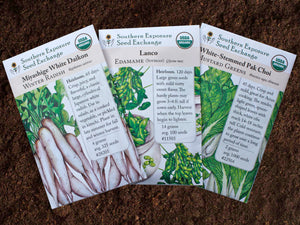 Asian Vegetable Garden Organic Seeds Variety Pack - Edamame, Daikon Radish, Pak Choi (Bok Choy)