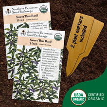 Load image into Gallery viewer, Certified Organic Sweet Thai Basil Seeds, Two Pack of 100 Seeds Each for Planting