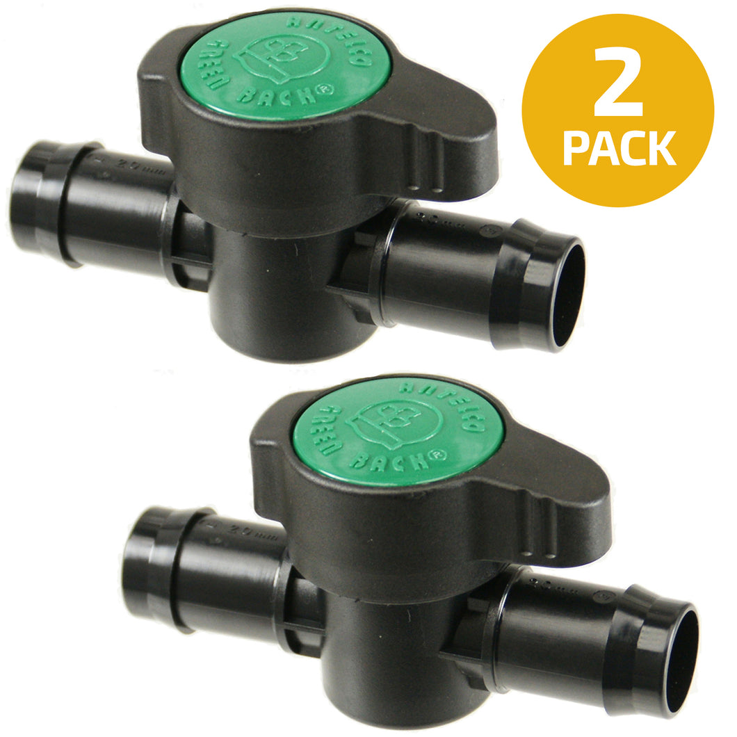 Habitech 2-Pack in-Line Barbed Ball Valve 21mm for 3/4 Inch Tubing