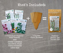 Load image into Gallery viewer, Herbal Tea Garden Organic Seeds Kit - Chamomile, Mint, Holy Basil, Echinacea, Lemon Balm