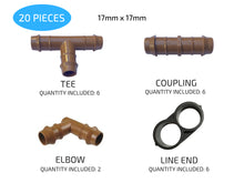"Load image into Gallery viewer, Habitech Irrigation Fittings Kit for 1/2"" Tubing"