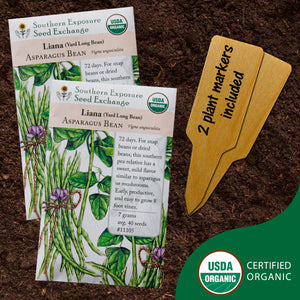 Certified Organic Yard Long Bean Seeds (Liana Asparagus Bean), Two Pack of 40 Seeds Each for Planting