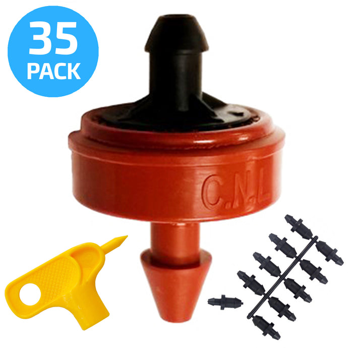 0.5 (1/2) GPH Netafim Woodpecker Jr Pressure Compensating Dripper Emitters, 35-Pack PLUS Hole Punch