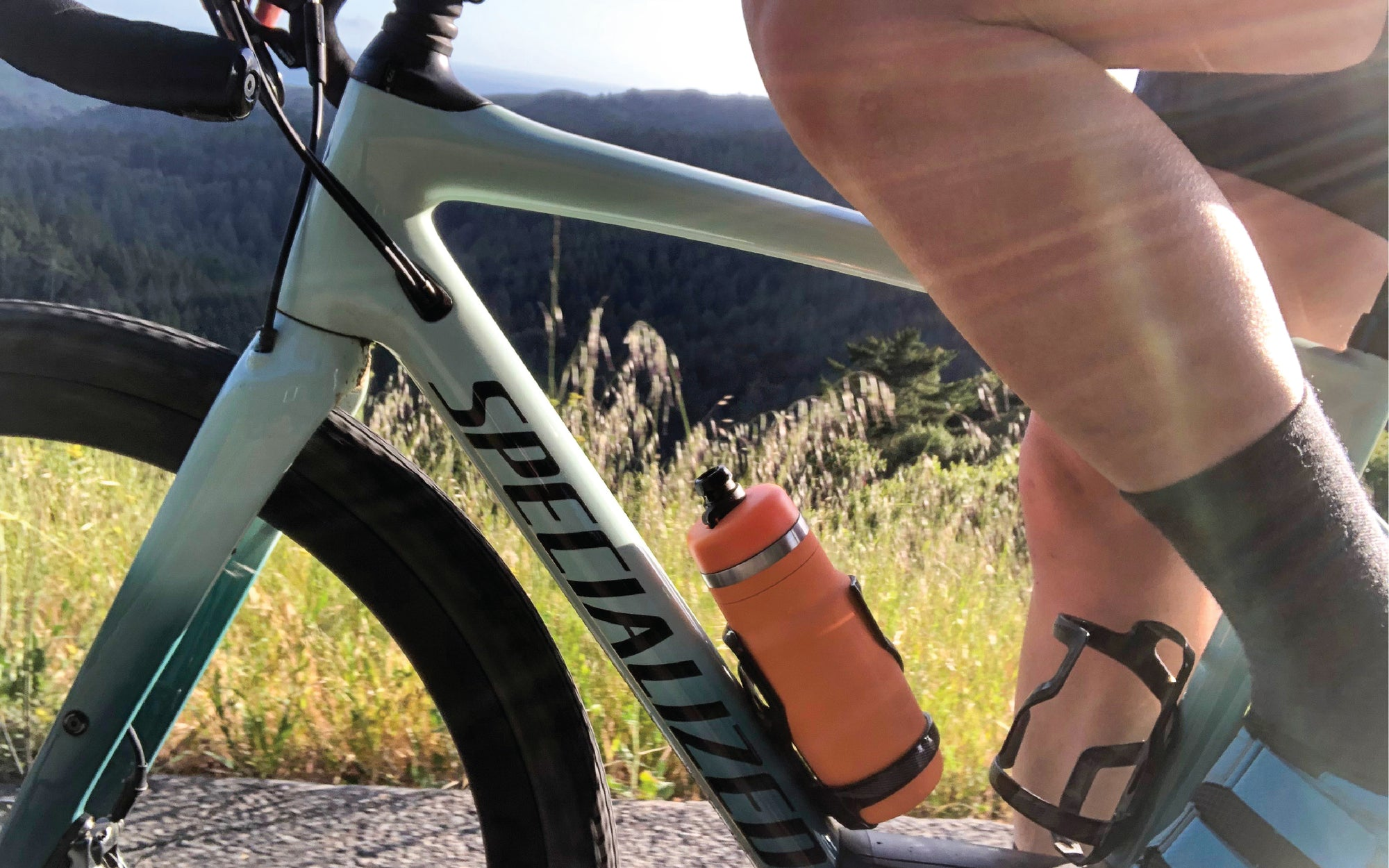 Stainless steel cycling bottle on bike