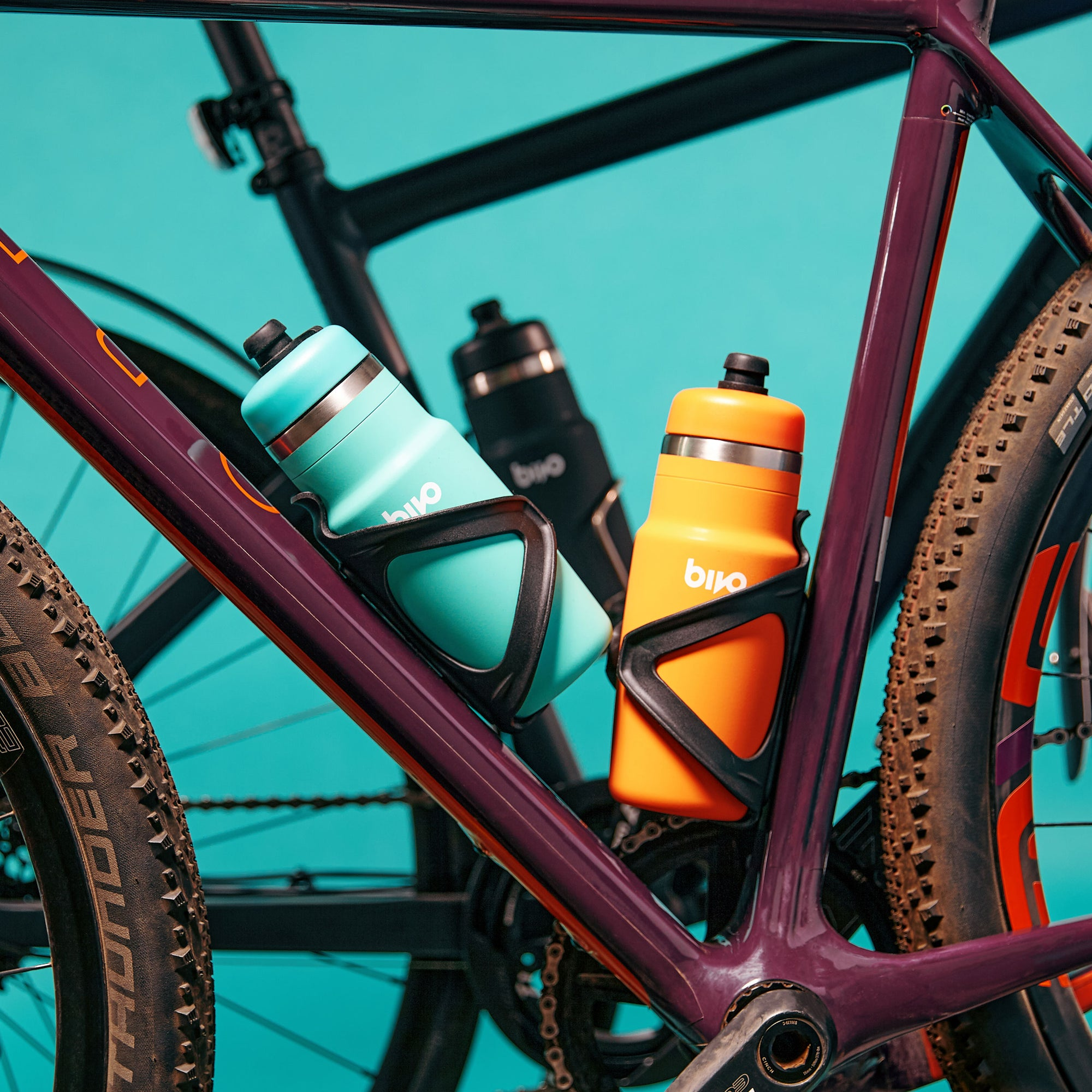 Bivo One stainless steel bike water bottle with a flow-rate fit for cyclists. Built to fit in most universal cages. Clean taste. Built to ride. Dishwasher safe.