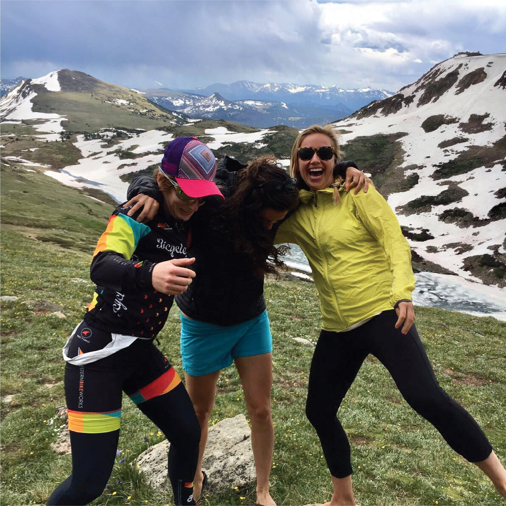 Three women smiling and having fun after cycling adventure