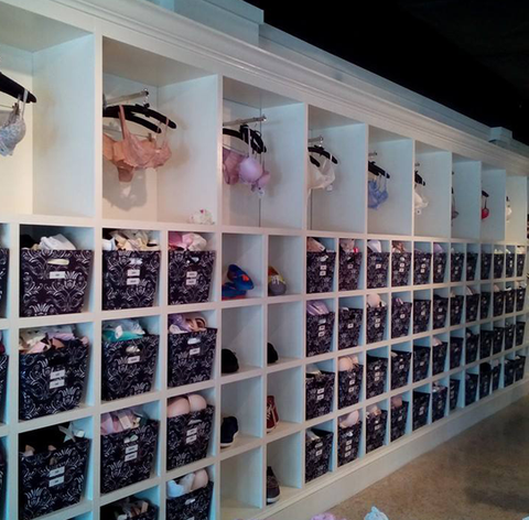 Bra display case at LaBella Intimates & Boutique