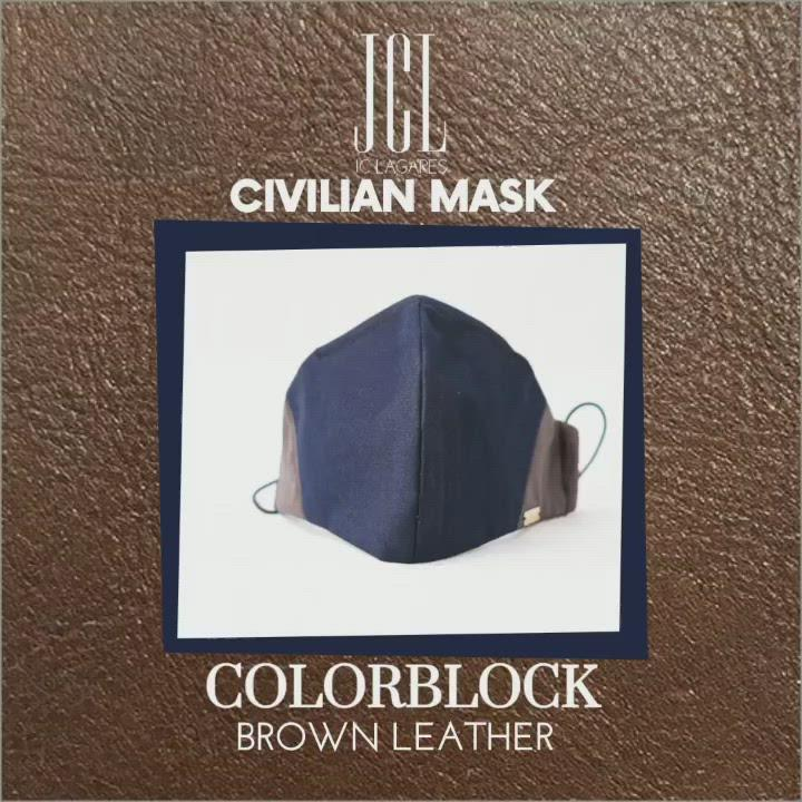 Navy and Brown Leather Mask