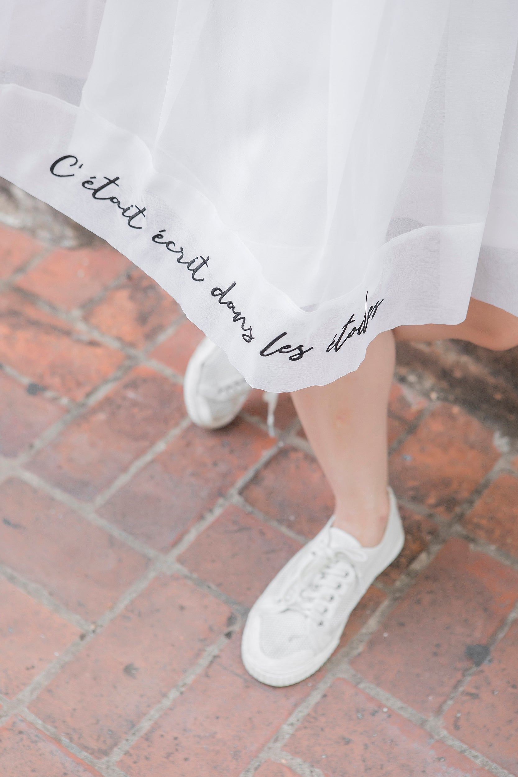 Organza Quote Embroidery Skirt
