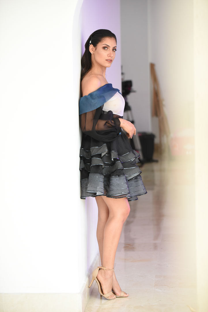 Ruffle beaded organza Skirt-JC Lagares official website | JCL.