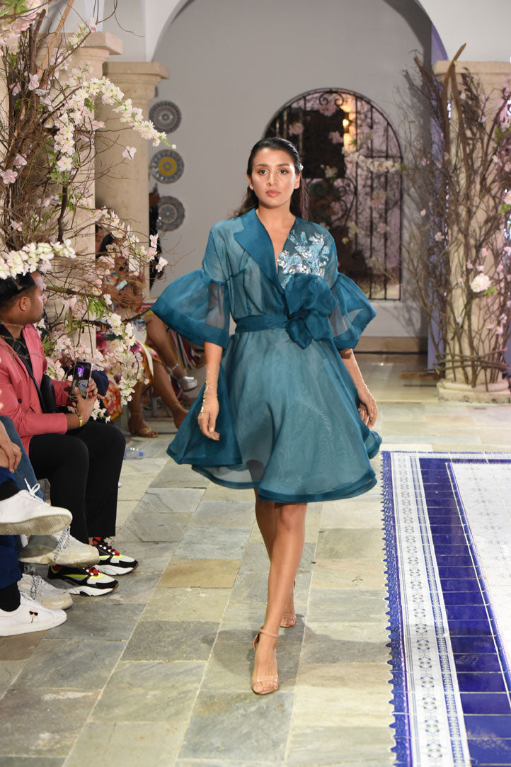 Kimono Teal Organza Dress w/ Brocade Detail