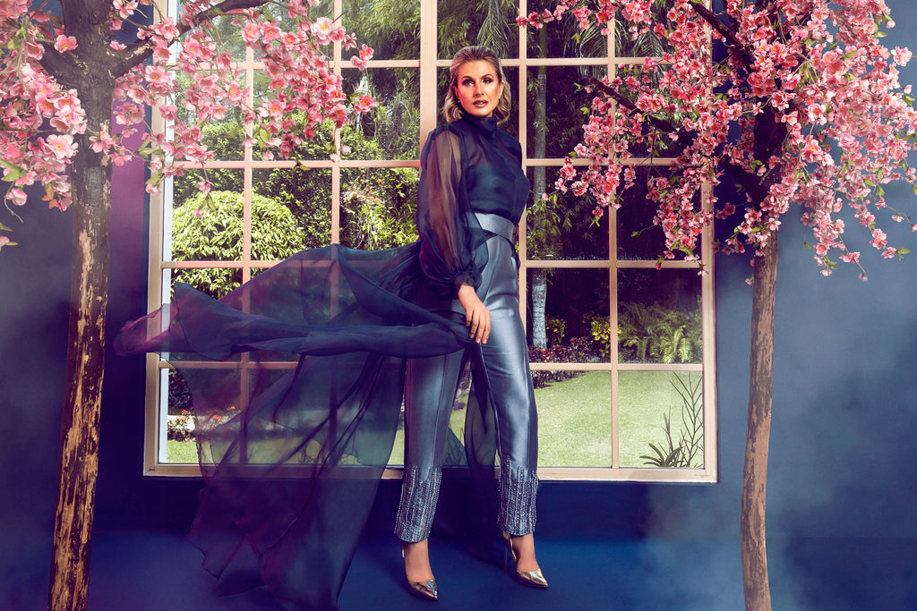 Silk Jumpsuit and Organza Cape