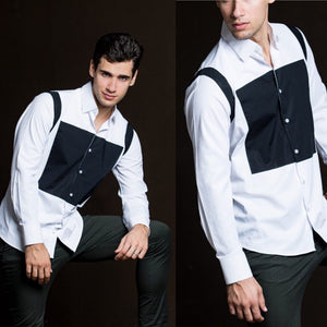 Black square white Men shirt