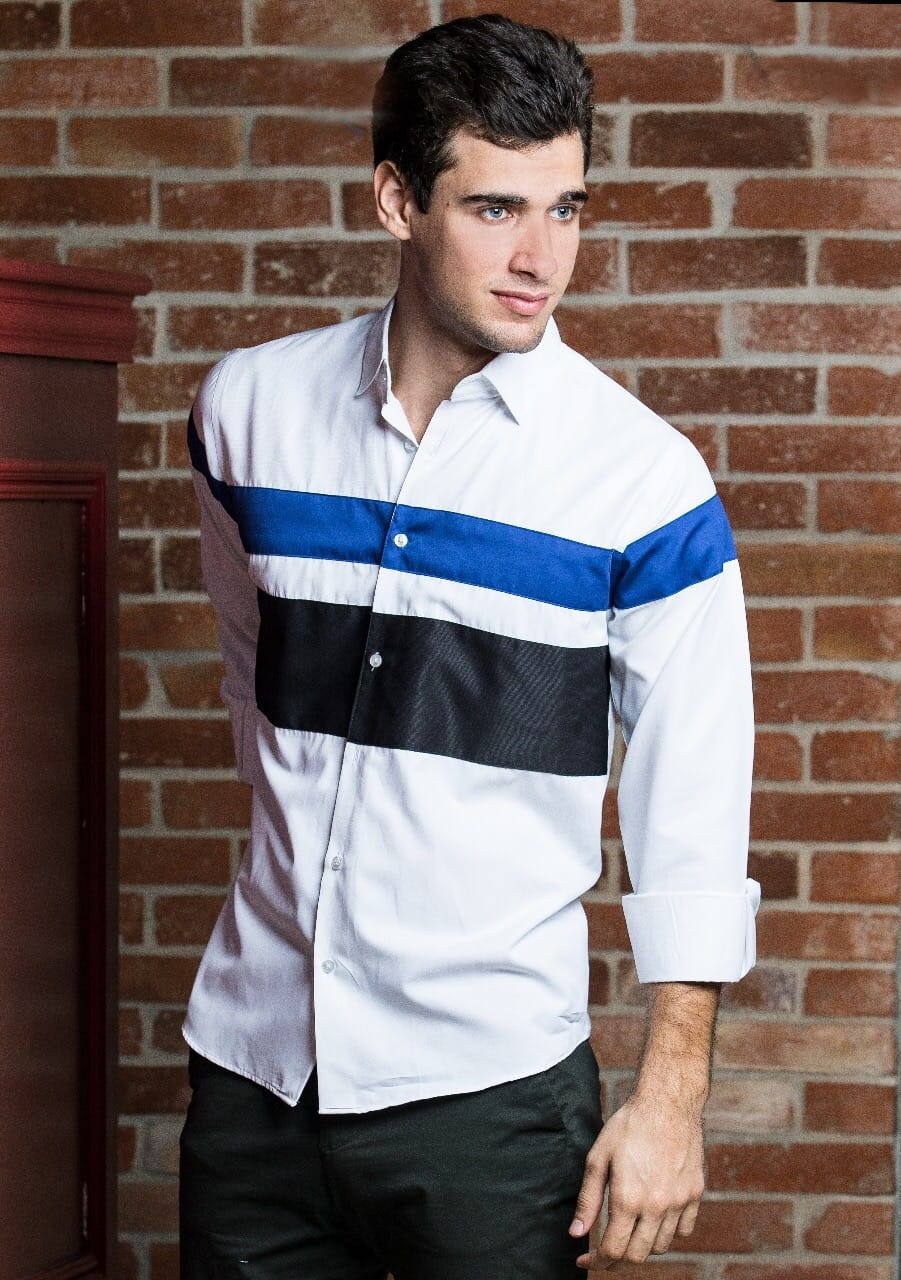 Men Black&Blue horizontal Stripes frontal and upper arm-JC Lagares official website | JCL.