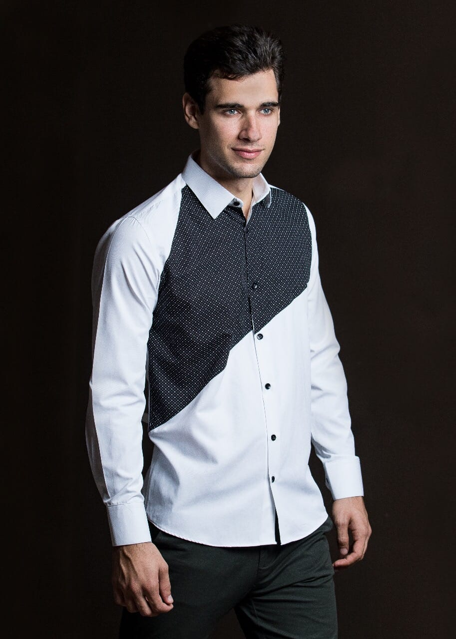 Black and White diagonal frontal design Men shirt-JC Lagares official website | JCL.