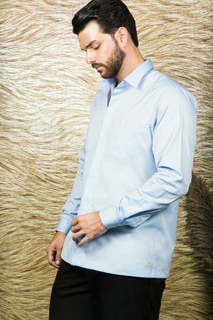 Light Blue TULIP monogram Shirt-JC Lagares official website | JCL.