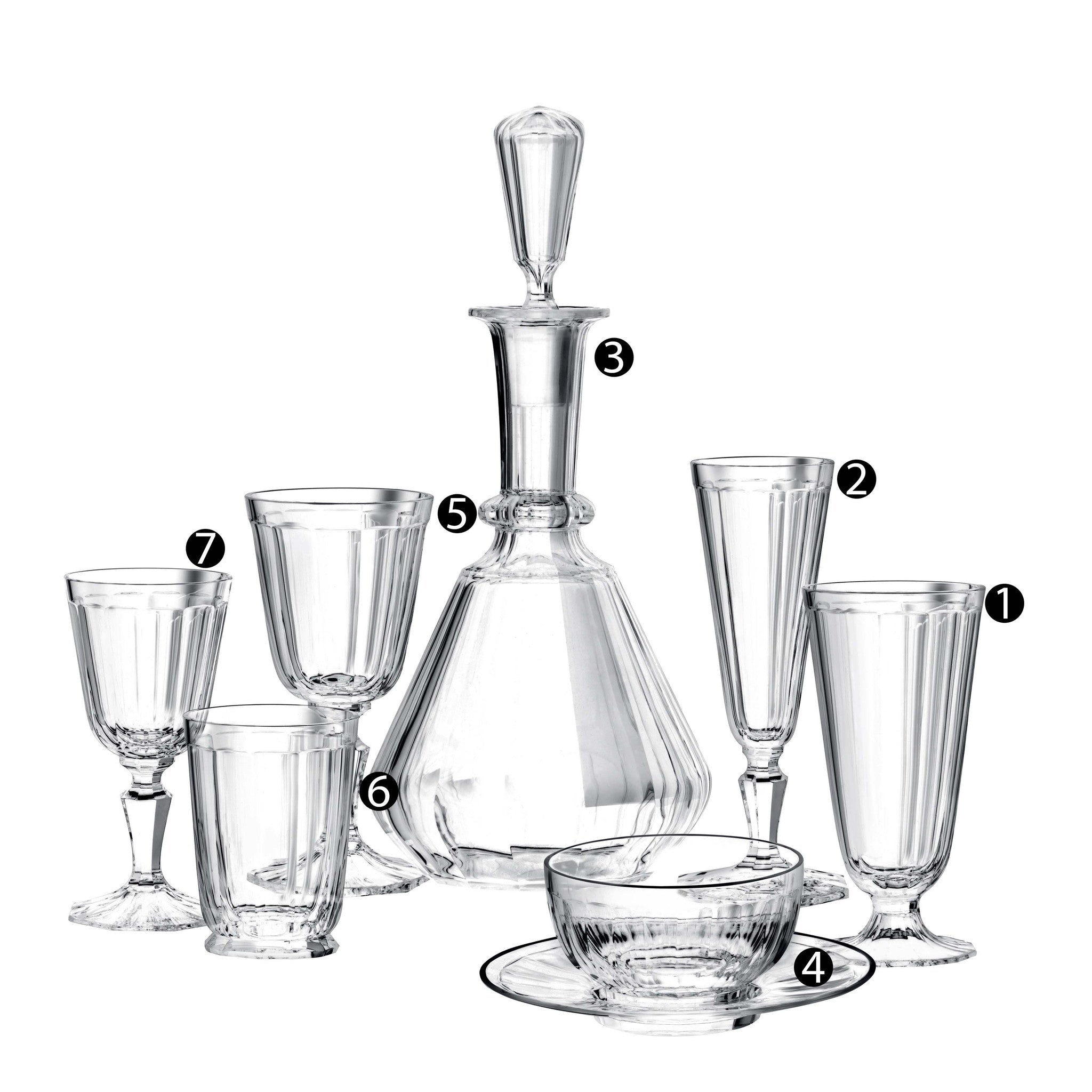 Drinking Set No. 98 - Palais with cut facettes