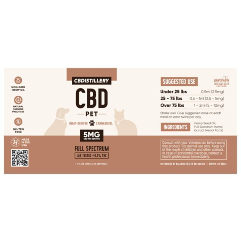 CBDistillery - CBD Pet Tincture - Full Spectrum - 150mg
