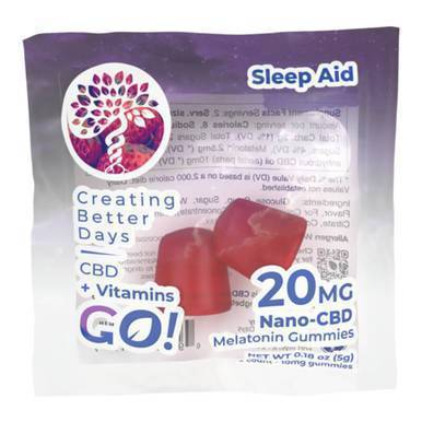 Creating Better Days - CBD Edible - Go! Nano-VitaGummies + Melatonin - 20mg
