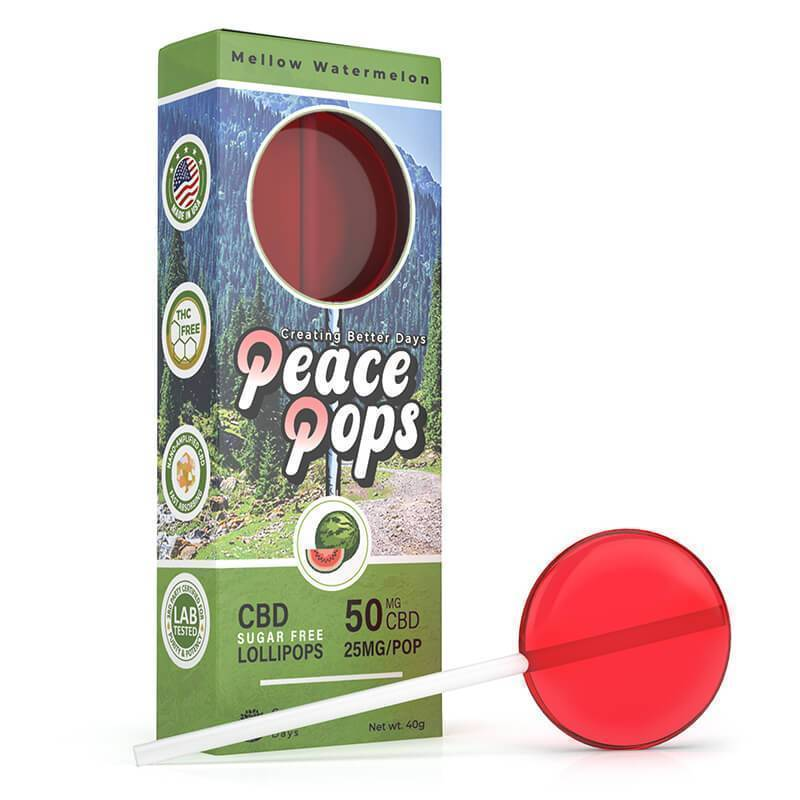Creating Better Days - CBD Edible - Peace Pops - Mellow Watermelon - 2pc-25mg
