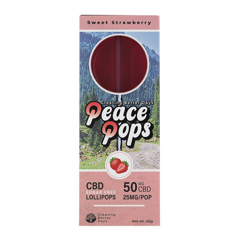 Creating Better Days - CBD Edible - Peace Pops - Sweet Strawberry - 2pc-25mg