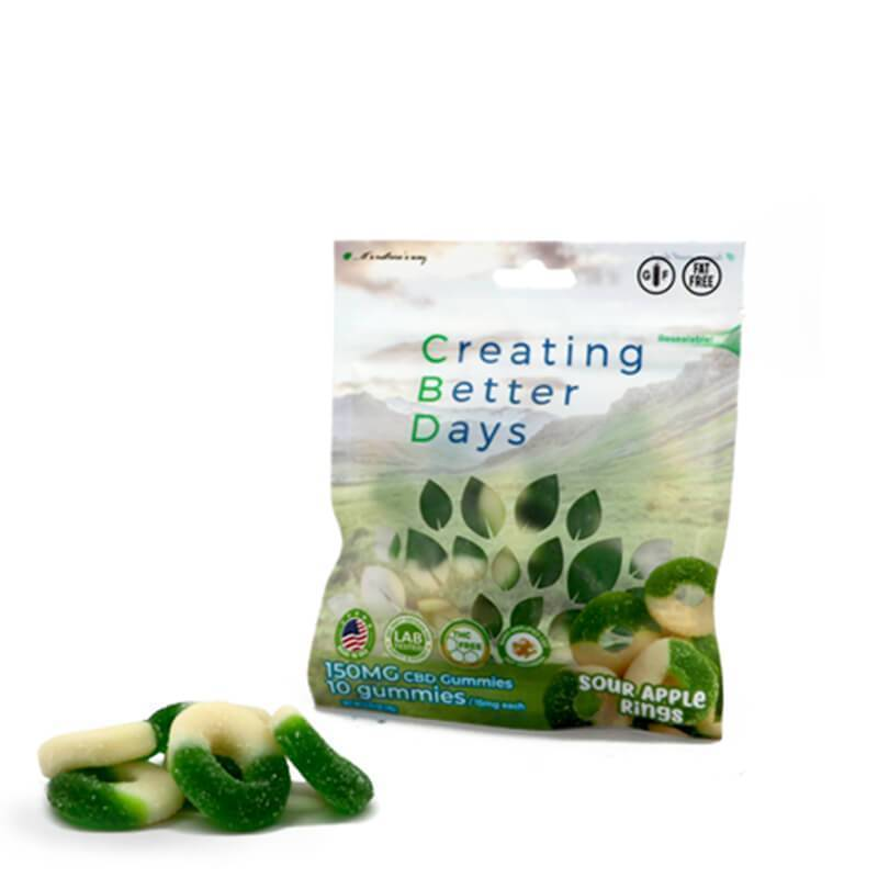 Creating Better Days - CBD Edible - Sour Apple Rings Gummies - 10pc-15mg