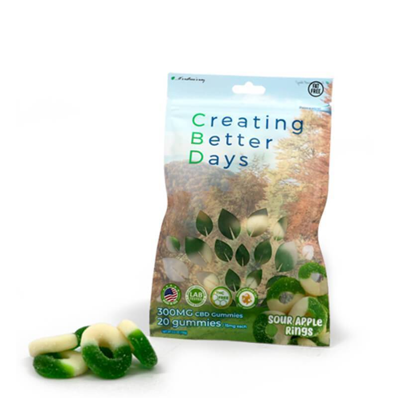 Creating Better Days - CBD Edible - Sour Apple Rings Gummies - 20pc-15mg