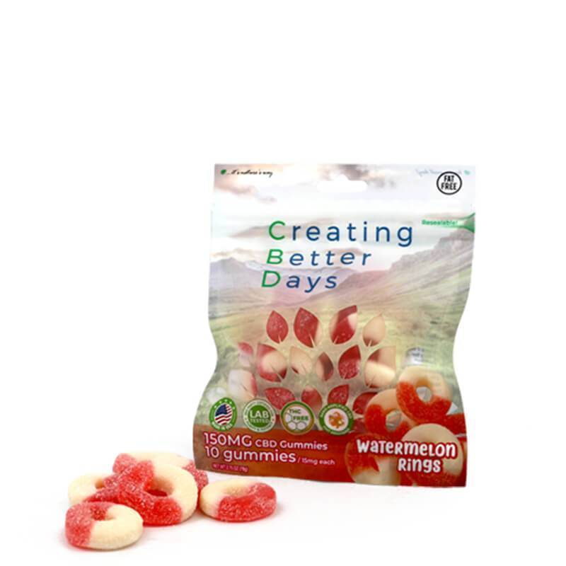 Creating Better Days - CBD Edible - Watermelon Rings Gummies - 10pc-15mg