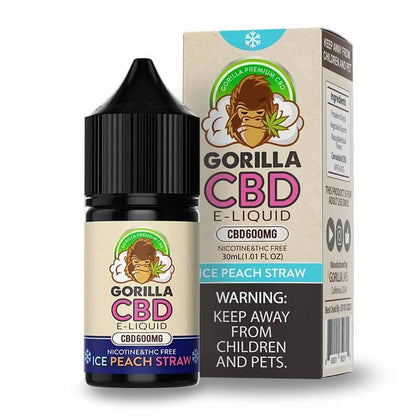 Gorilla CBD - CBD Vape Juice - Ice Peach Straw - 600mg-buy-CBD-online