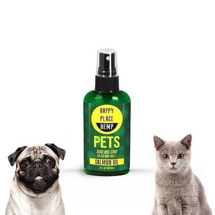 Happy Place Hemp - CBD Pet Tincture Spray - Salmon Oil - 500mg-buy-CBD-online