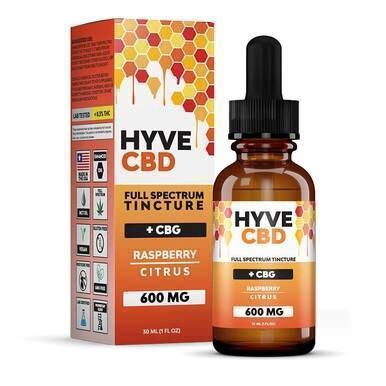 Hyve CBD - CBD Tincture - Full Spectrum Raspberry Citrus+CBG - 300mg-1200mg