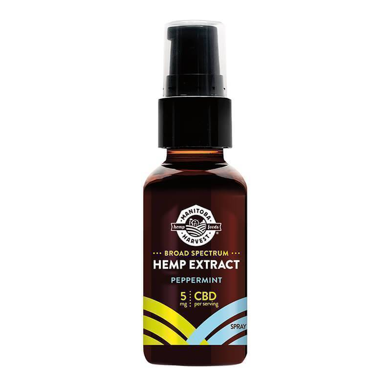 Manitoba Harvest - CBD Tincture Spray - Broad Spectrum Hemp Extract Peppermint Spray - 300mg