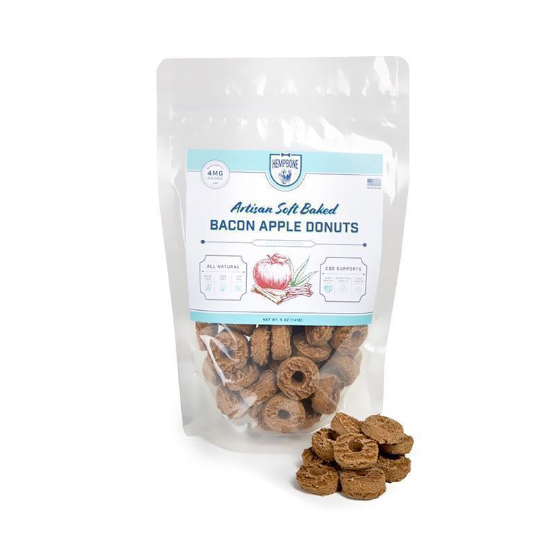 PHYTO Animal Health™ - CBD Pet Edible - HempBones Bacon Apple Donuts Treats - 4mg