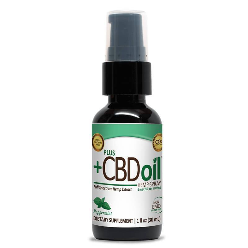 PlusCBD Oil - CBD Tincture Spray - EVOO Peppermint - 100mg-500mg