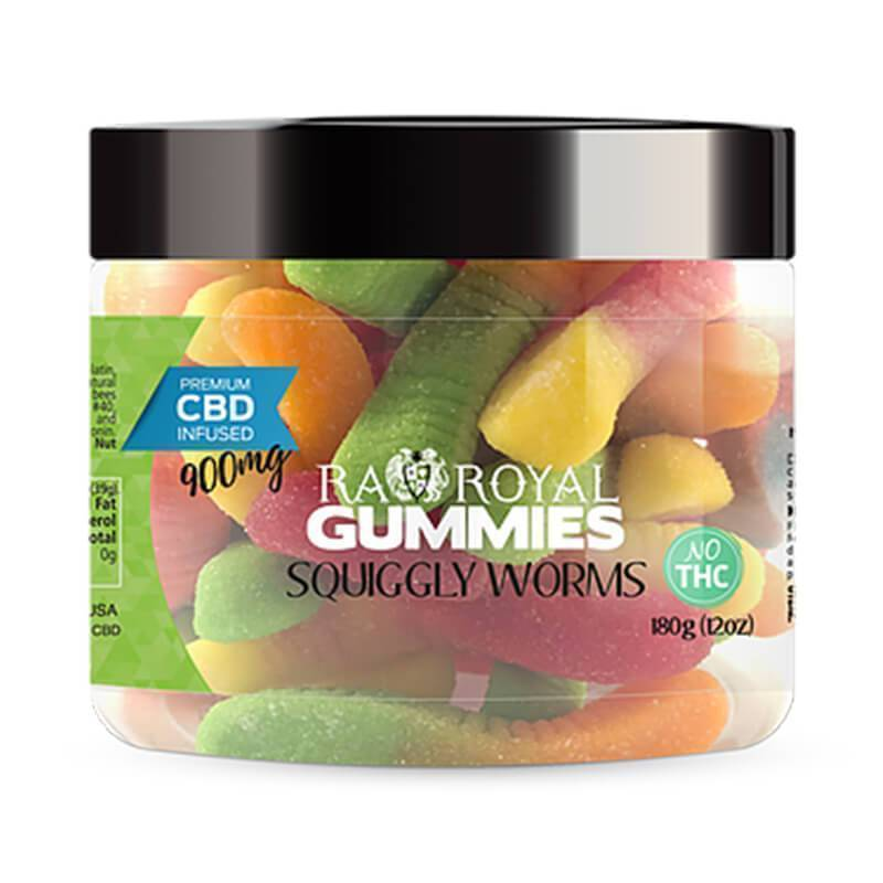 RA Royal CBD - CBD Edible - Squiggly Worms Gummies - 300mg-1200mg