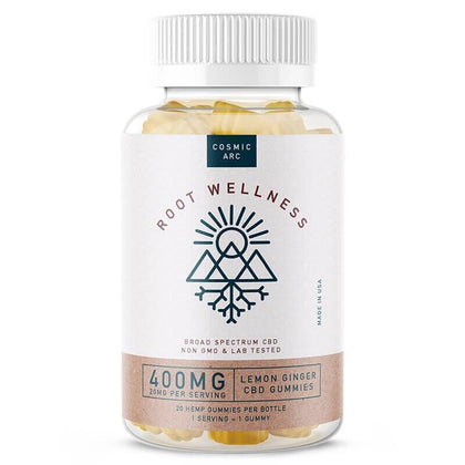 Root Wellness - CBD Edible - Lemon Ginger Gummies 20 Count Bottle - 20mg-buy-CBD-online