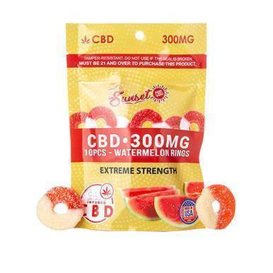 Sunset CBD - CBD Edible - CBD Infused Watermelon Rings - 20mg