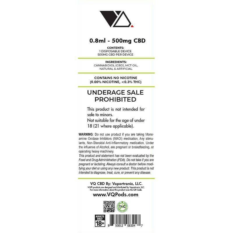 VQ CBD - CBD Disposable Vape Pen - Sour Apple - 300mg-500mg