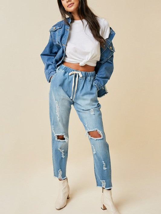 'Carissa' Distressed Drawstring Denim Jeans
