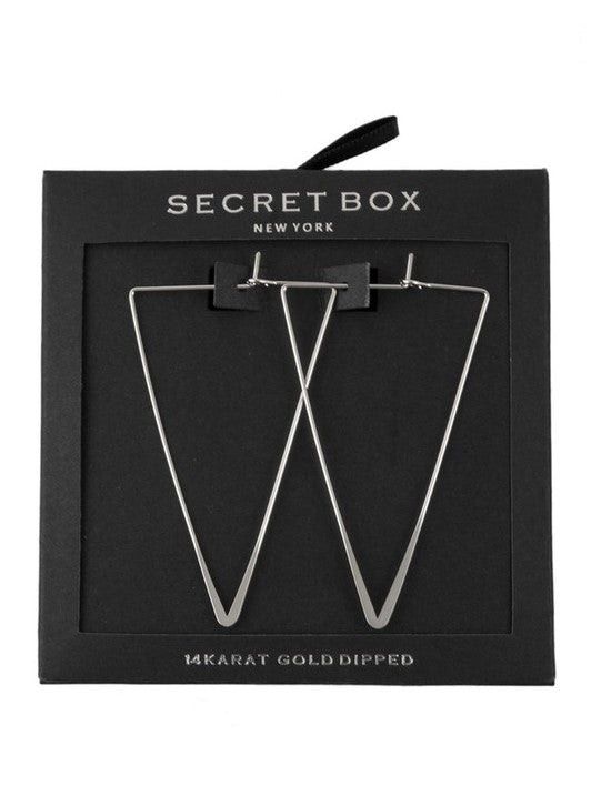 'Heather' Triangle Hoops (Silver)