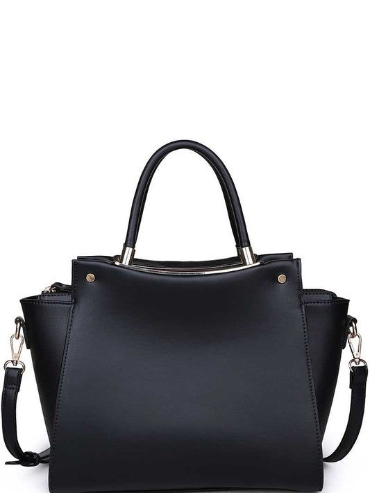 'Lexi' Luxury Vegan Leather Satchel Purse (Black)
