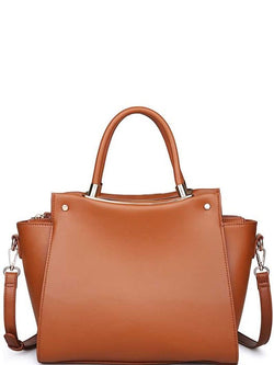 'Lexi' Luxury Vegan Leather Satchel Purse (Tan)
