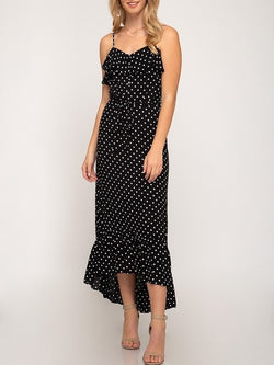 'Penelope' Polka Dot Ruffle Dress