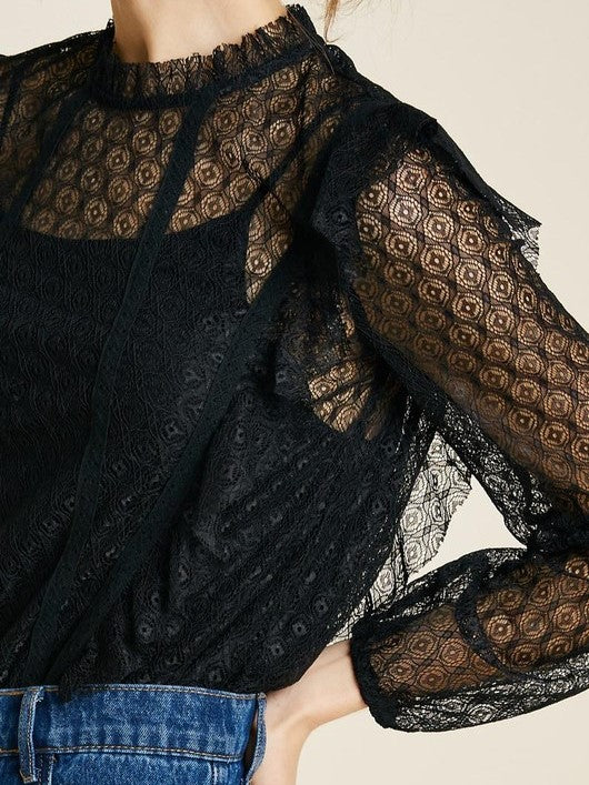 'Alexa' Mock-Neck Ruffle Lace Bodysuit (Black)