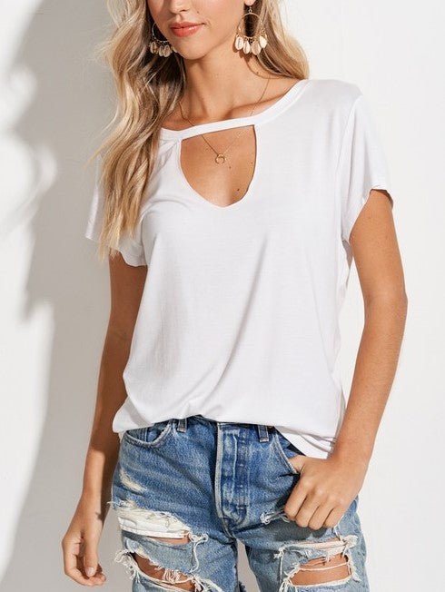 'Ellie' Cut-Out Tee (White)