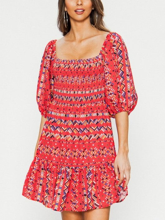 'Adrienne' Smocked Balloon Sleeve Mini Dress
