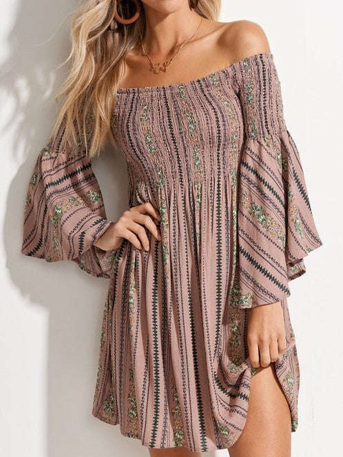 'Chase' Off the Shoulder Smocked Floral Dress
