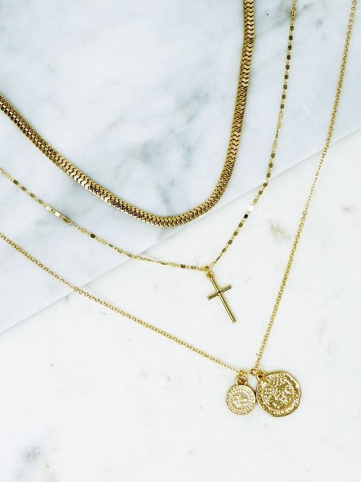 'Jasmine' Layered Cross Necklace
