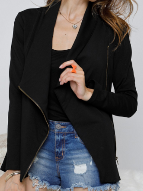 'Palmer' Black Asymmetrical Zip-Up Jacket