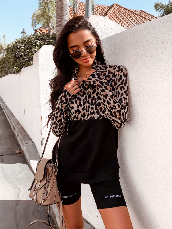 'Ashley' Animal Print Color Block Pullover
